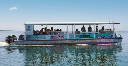 Aqua Bear Adventures taking tourists on a sightseeing cruise on their catamaran